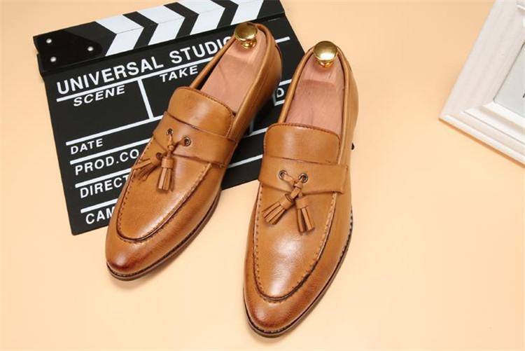 ローファー メンズ スリッポン ビジネスシューズ ドライビングシューズ 学生靴 紳士靴 タッセル ローカット ブラウン 26.5cm_画像2