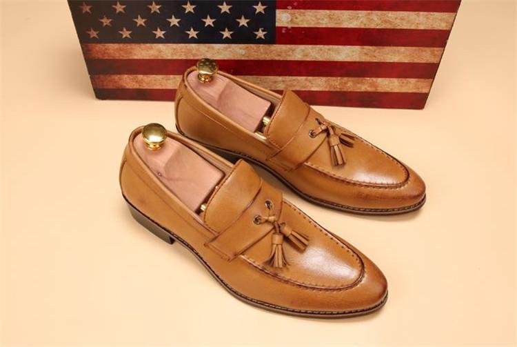 ローファー メンズ スリッポン ビジネスシューズ ドライビングシューズ 学生靴 紳士靴 タッセル ローカット ブラウン 26.5cm_画像3