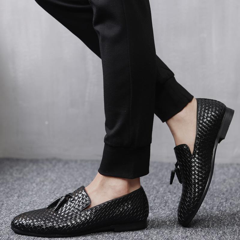 ローファー メンズ スリッポン 編み柄 ドライビングシューズ カジュアル ビジネス 通気 紳士靴 ブラック 26.5cm_画像1