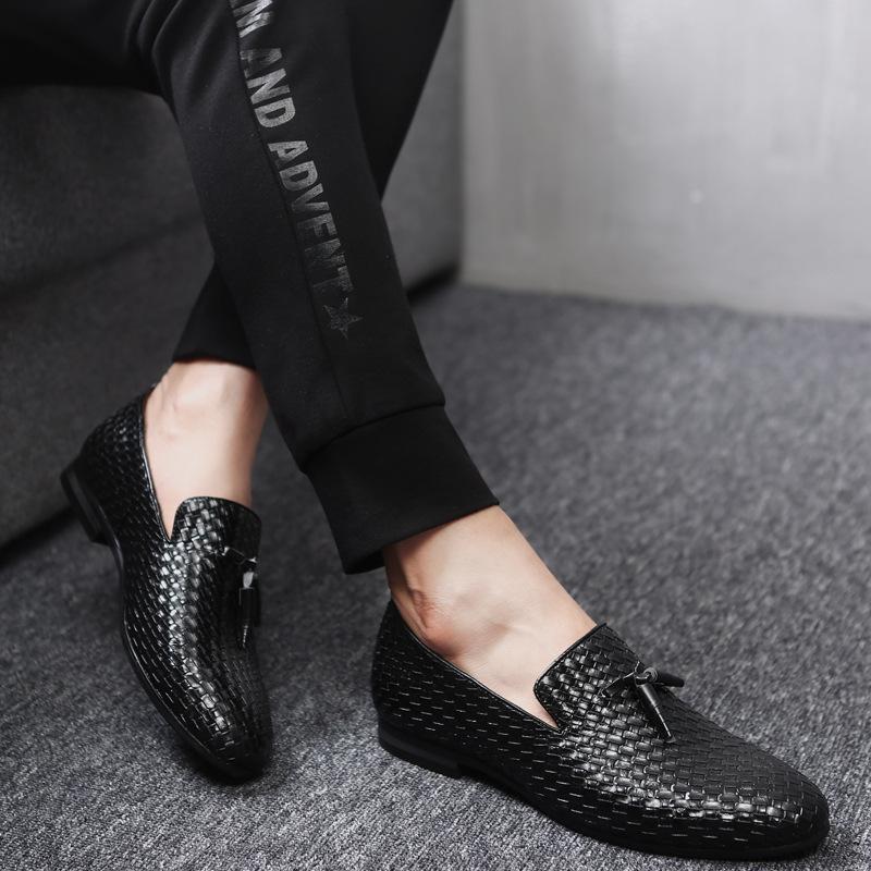 ローファー メンズ スリッポン 編み柄 ドライビングシューズ カジュアル ビジネス 通気 紳士靴 ブラック 25.5cm_画像2