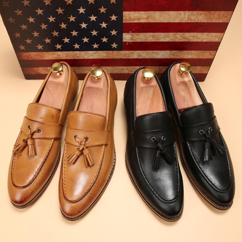 ローファー メンズ スリッポン ビジネスシューズ ドライビングシューズ 学生靴 紳士靴 タッセル ローカット ブラウン 26.5cm_画像5