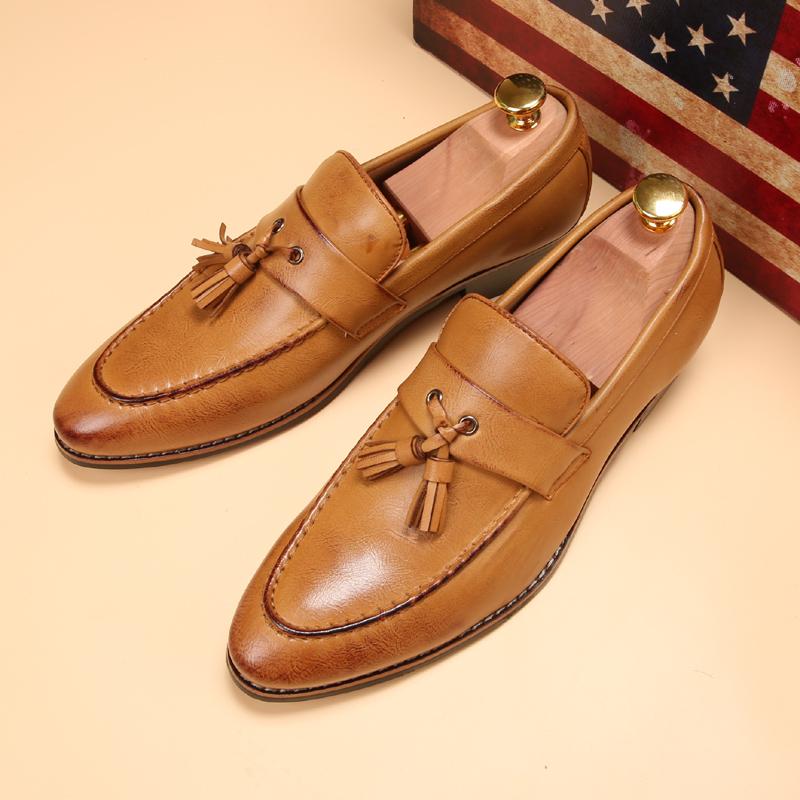 ローファー メンズ スリッポン ビジネスシューズ ドライビングシューズ 学生靴 紳士靴 タッセル ローカット ブラウン 26.5cm_画像1