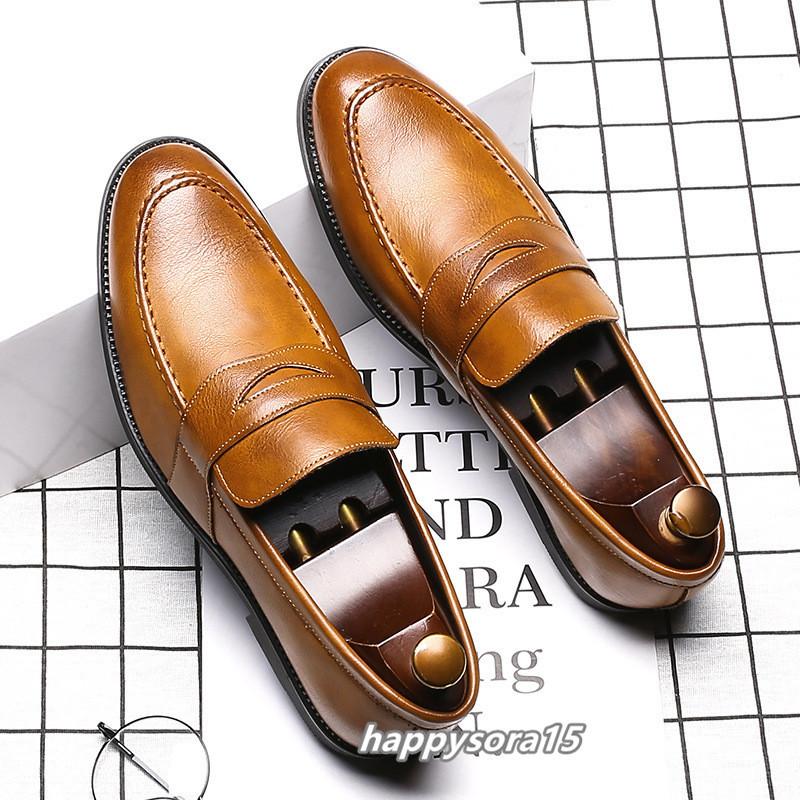 ローファー メンズ スリッポン ビジネスシューズ カジュアル  ドライビングシューズ 紳士靴 通学 イエロー 25.5cm_画像1