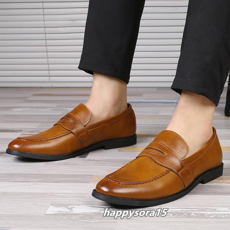 ローファー メンズ スリッポン ビジネスシューズ カジュアル  ドライビングシューズ 紳士靴 通学 イエロー 25.5cm_画像4