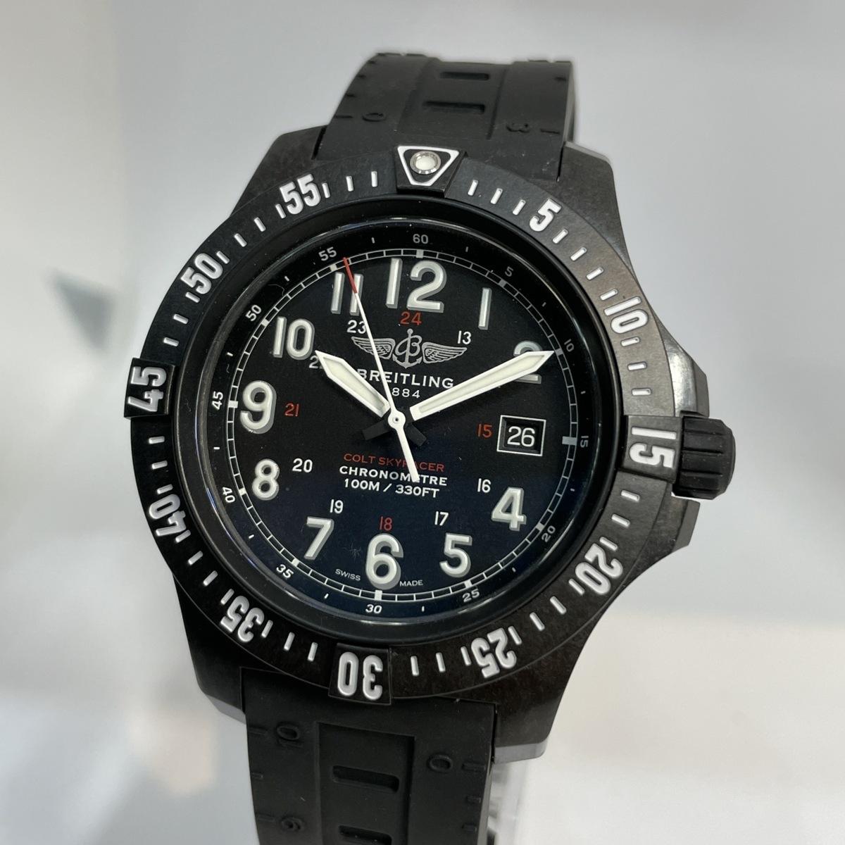 ◎1円~ 美品 ブライトリング Breitling コルト スカイレーサー 黒文字盤 X74320 メンズ クオーツ ギャランティ 腕時計 CD26461138
