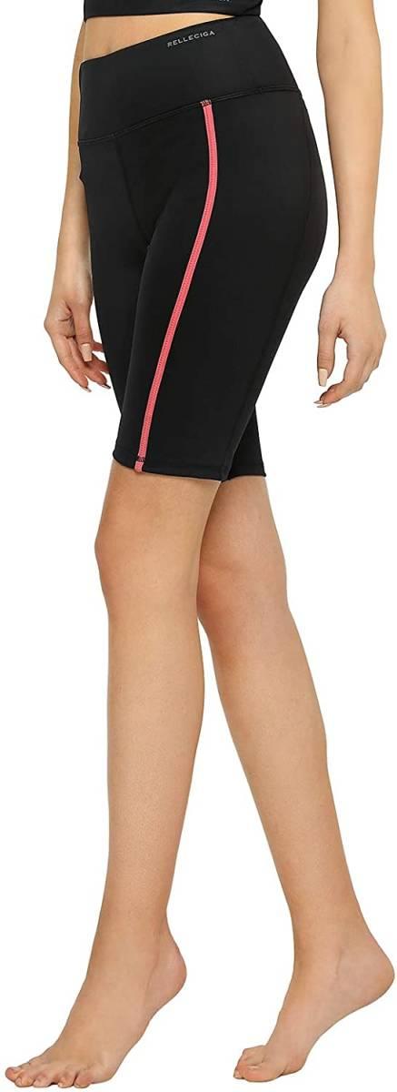 RELLECIGAレディースハイウエストパンツスポーツレギンス吸汗速乾ポケット付き半ズボンバイクショーツ サイズ:L