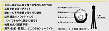 値下げ ムサシ RITEX 「自由に曲がる三脚で様々な場所に取付可能! 」 LEDどこでもセンサーライト ASL-090_画像9