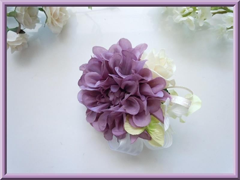 格安特価◆アートフラワー造花◆パープルダリア&ローズのコサージュ*紫色 藤色 卒園式 入学式 卒業式 結婚式 二次会 式典など_画像3