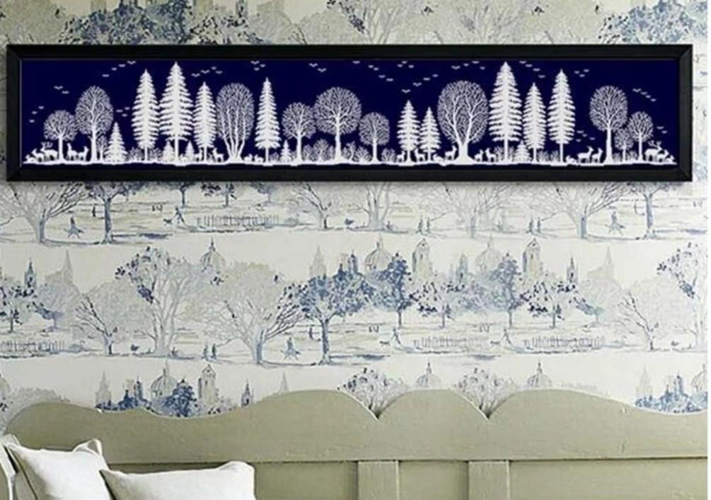 クロスステッチキット 森 フォレスト Forest 一色刺し 14CT 148×29cm 濃紺 刺繍キット