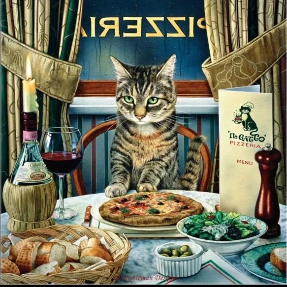 クロスステッチキット ビストロ猫 14CT 33×33cm 刺繍キット ねこ ネコ ピザ屋さんにて