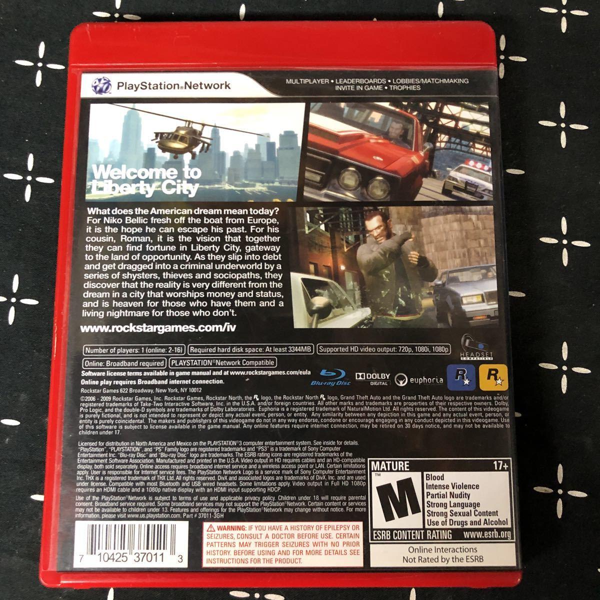PS3 grand theft auto IV(北米版) プレイステーション3 グランドセフトオート GTA4 海外版 Rockstar R☆
