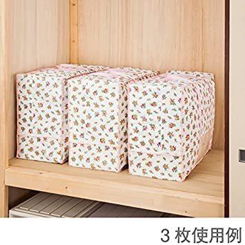 羽毛布団収納袋 シングル・ダブル兼用 a75f6 アストロ 羽毛布団 収納袋 プチローズ柄 不織布 持ち手付き 縦型 _画像5