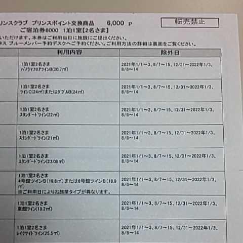 プリンスポイント 6,000p 有効期限 2022/4/5 プリンスホテル 宿泊券_画像3
