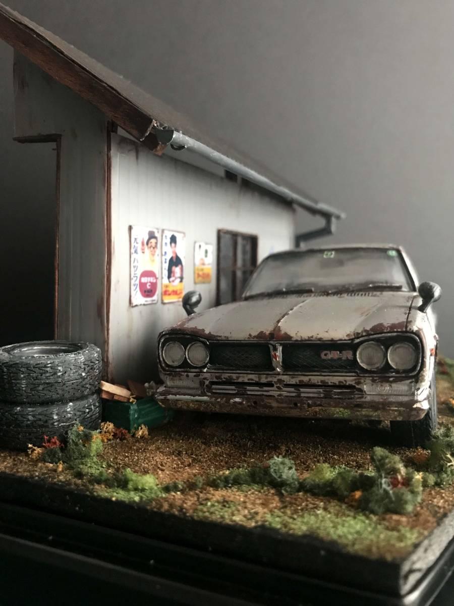昭和の草ヒロ風景ジオラマ 1/24スカイライン2000GT-R 自作ジオラマ完成品 ケース付_画像3