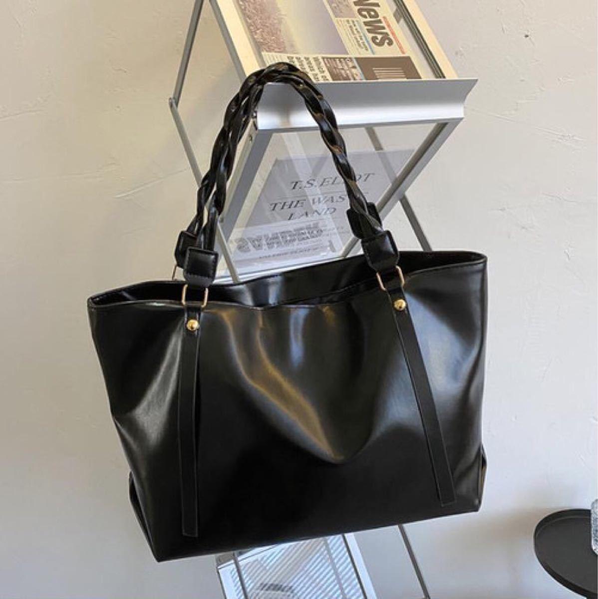 トートバッグ ショルダーバッグ レディース 手提げ ブラック 鞄 レザー シンプル カジュアル ビジネス ブラック 大容量