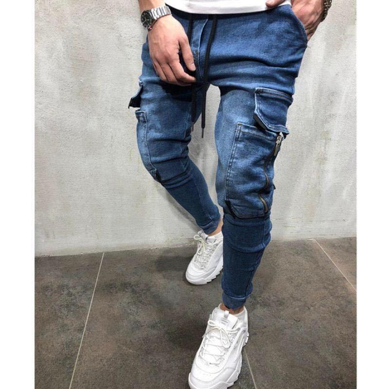 ジョガーパンツ ポケット付き デニム テーパードパンツ ボトムス スキニーパンツ デニムパンツ ストリート ブルー 青 S M L ボトムス