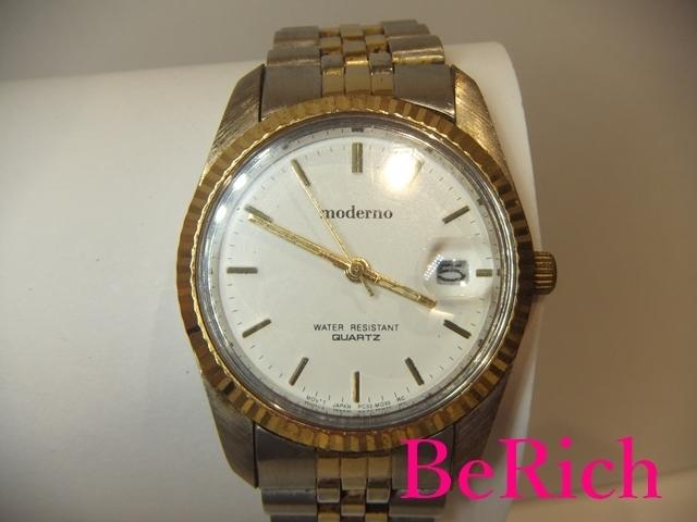 モデルノ moderno メンズ 腕時計 白 ホワイト 文字盤 SS シルバー ゴールド デイト アナログ クォーツ QZ ウォッチ 【中古】ht2067_画像1