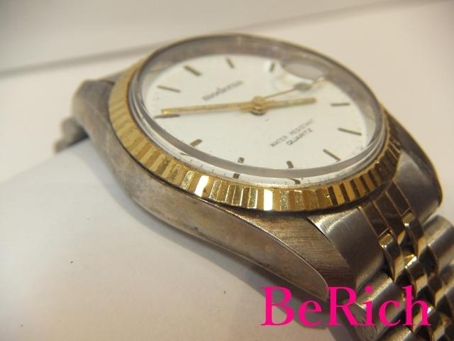 モデルノ moderno メンズ 腕時計 白 ホワイト 文字盤 SS シルバー ゴールド デイト アナログ クォーツ QZ ウォッチ 【中古】ht2067_画像3