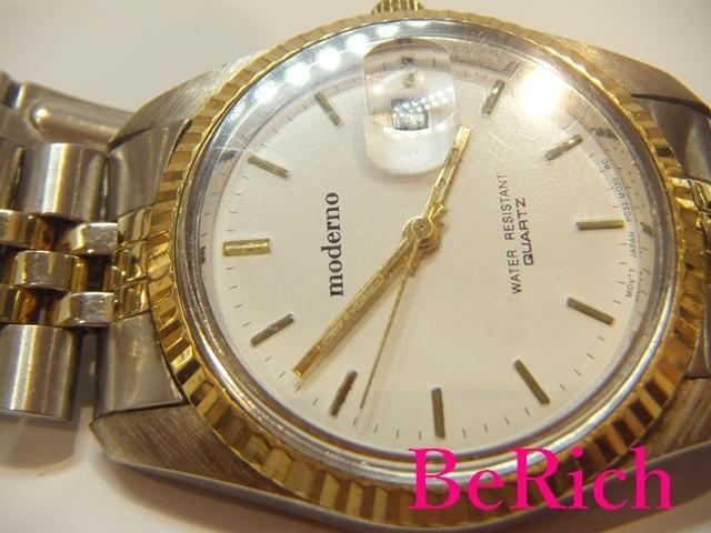モデルノ moderno メンズ 腕時計 白 ホワイト 文字盤 SS シルバー ゴールド デイト アナログ クォーツ QZ ウォッチ 【中古】ht2067_画像9