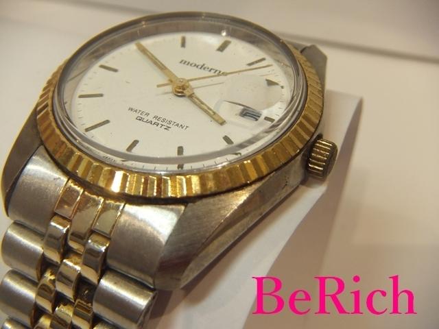 モデルノ moderno メンズ 腕時計 白 ホワイト 文字盤 SS シルバー ゴールド デイト アナログ クォーツ QZ ウォッチ 【中古】ht2067_画像2