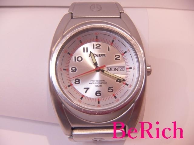 ニクソン NIXON メンズ 腕時計 白 ホワイト 文字盤 SS シルバー デイデイト アナログ クォーツ QZ ウォッチ 【中古】ht2150_画像1