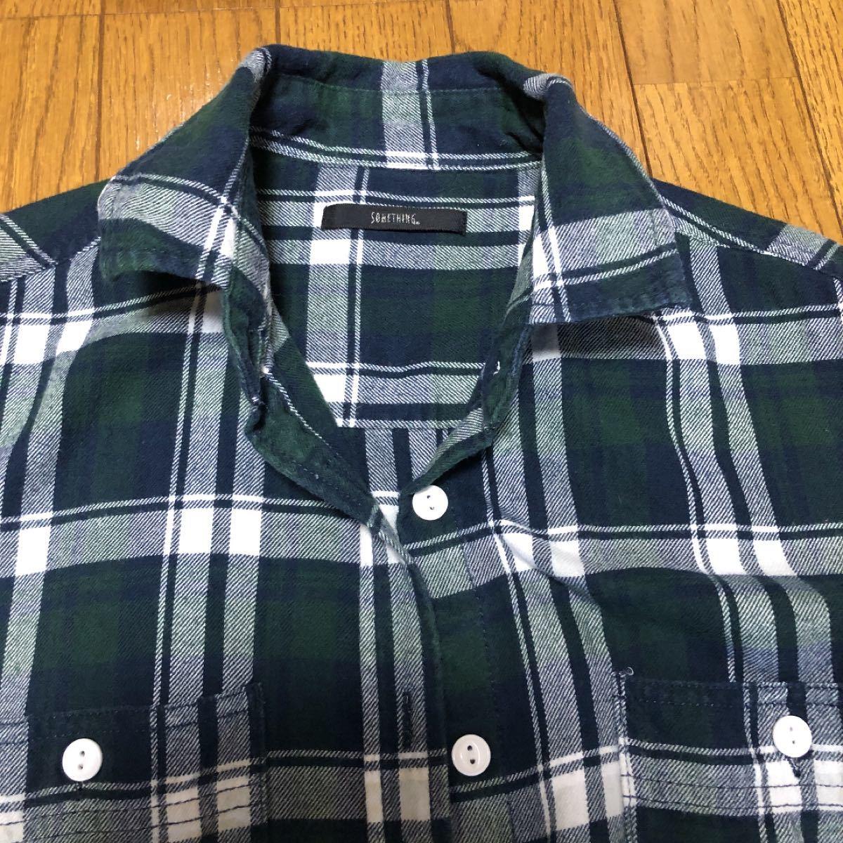 チェックシャツ シャツワンピース グリーン系