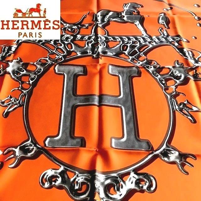 ◆1円 新品 紙タグシール付 人気柄 HERMES 【VIF ARGENT】(銀の雫)カレ90 シルク100%