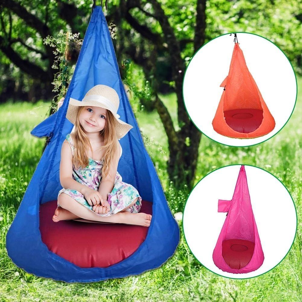 S3026 子供子耐久ハンモック椅子子供ポッドスイングスイングポッド快適なぶら下げシート屋内および屋外の使用ゲームをプレイ_画像3