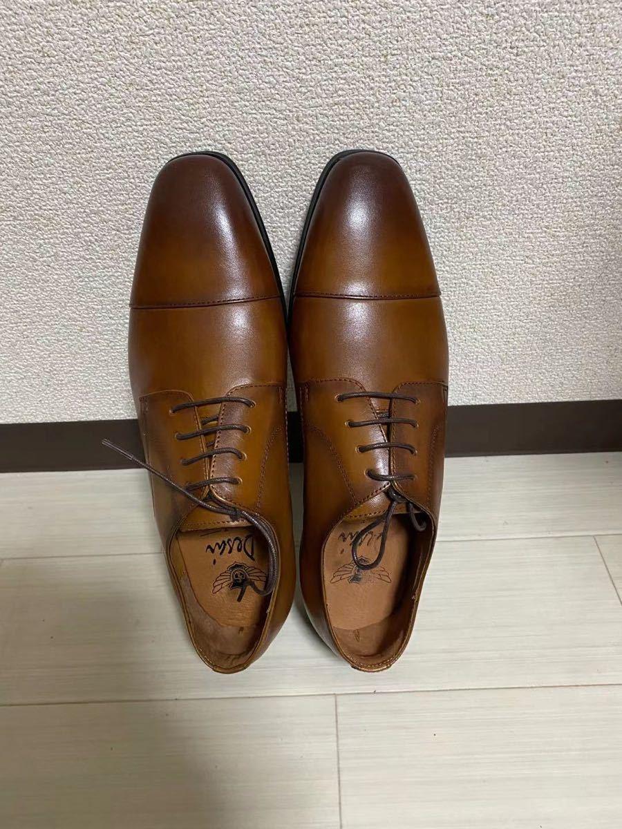 ビジネスシューズ 紳士靴 メンズ 本革 ストレートチップ 25.5cm