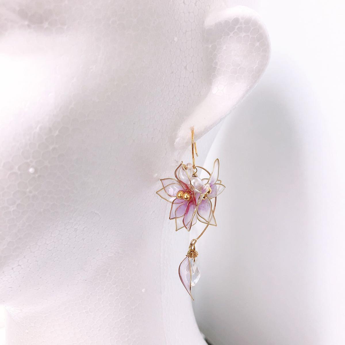 フルールピアス/イヤリング ディップアート アメリカンフラワー 透明感 きれい 大人 可愛い クリア 白 結婚式 ブライダル ウェディング_画像5