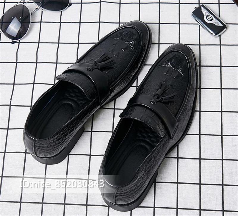 タッセルローファー ビジネスシューズ メンズ 紳士靴 シューズ カジュアル ワニ柄 スリッポンドライビングシューズ 黒24.5cm_画像2