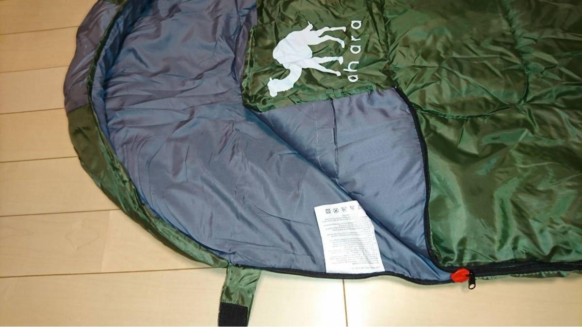 新品 寝袋 シュラフ 封筒型 抗菌 防災 アウトドア キャンプ 丸洗い コンパクト グリーン 最低使用温度 -10℃ 緑 お洒落