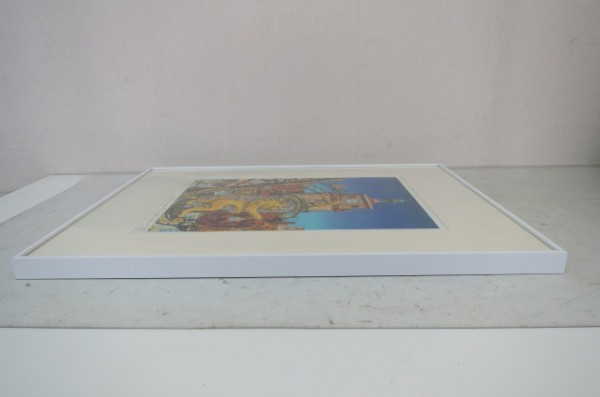 HX131A 山家久幸 リトグラフ 1988年作 4/50 ライオン えんぴつサイン入り 外箱付 額付_画像7