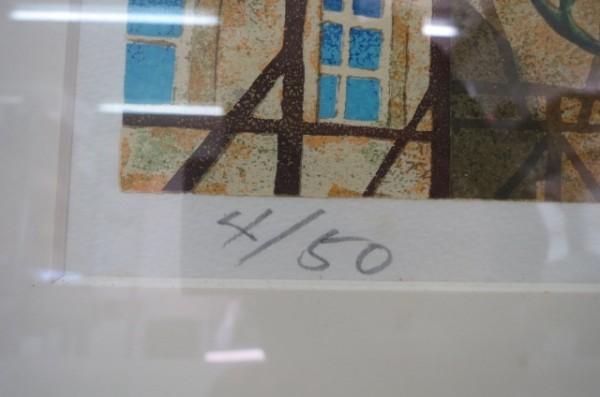 HX131A 山家久幸 リトグラフ 1988年作 4/50 ライオン えんぴつサイン入り 外箱付 額付_画像5