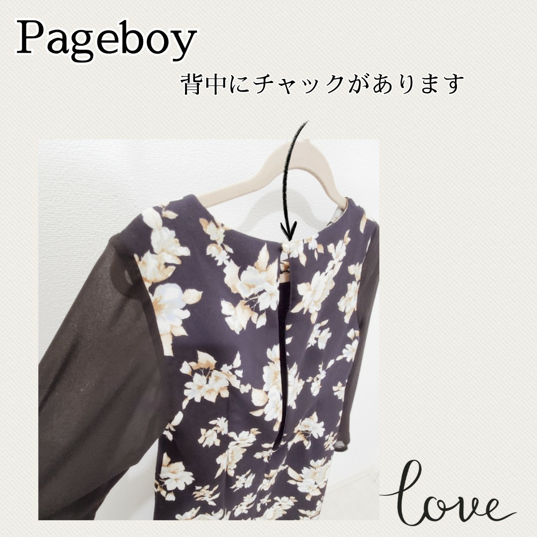ページボーイ pageboy 花柄 シフォン ワンピース 膝上丈