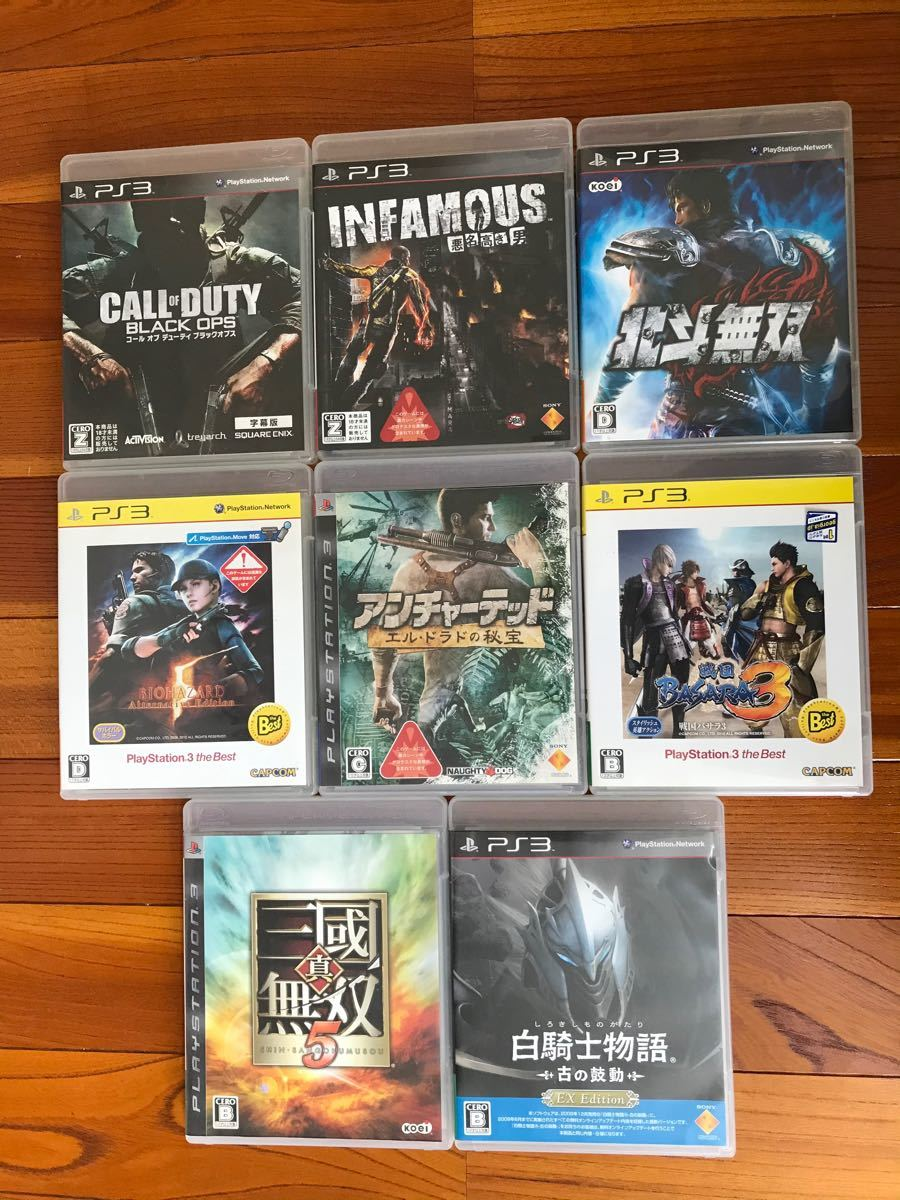 PS3 ソフト まとめ売り バイオ CoD スト4 ウイイレ パワプロ 北斗無双 BASARA インファマス ドラゴンボール