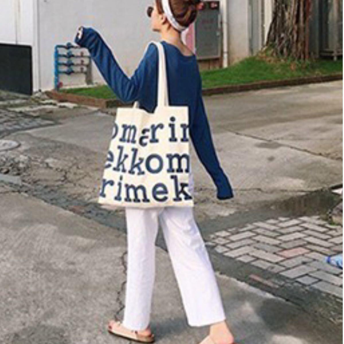 marimekkoマリメッコ ロゴ トートバッグ ネイビー 新品