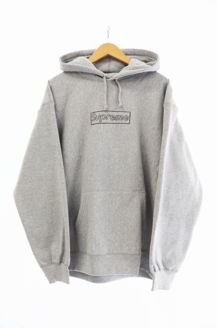シュプリーム SUPREME ×KAWS カウズ 21SS Chalk Box Logo Hooded Sweatshirt チョーク ボックス ロゴ パーカー L 中古☆AA★ 210308 0300_画像1