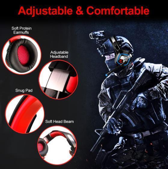 ゲーミングヘッドセット ブラック&レッド LEDライト お洒落 PC/ゲーム 音楽 映画鑑賞 USB 3.5mmケーブル_画像5