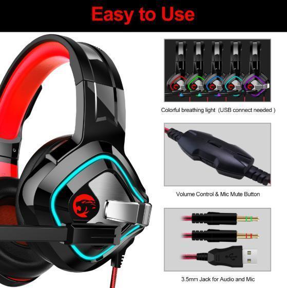 ゲーミングヘッドセット ブラック&レッド LEDライト お洒落 PC/ゲーム 音楽 映画鑑賞 USB 3.5mmケーブル_画像6