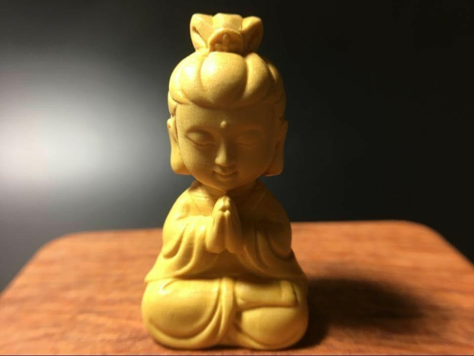 仏教美術柘植  可愛い 菩薩  枕本尊 仏具 仏像  置物 お守り  縁起物  4cm