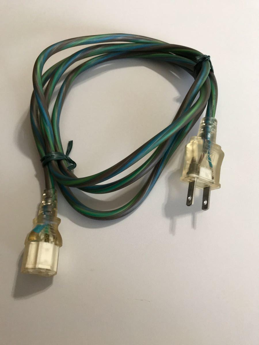 AC電源ケーブル 2pinオスー3pin メス 1.8mスケルトン