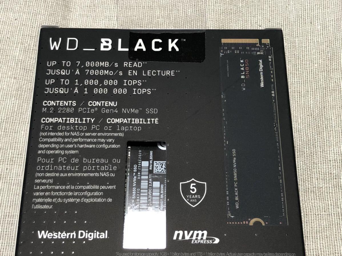 新品 ◆ Western Digital ◆ WD Black SN850 2TB M.2 2280 PCIe Gen4 x4 NVMe SSD WDS200T1X0E
