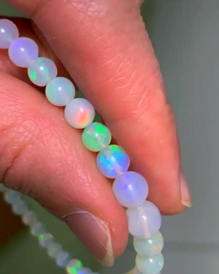 天然石 宝石質 AAAAA.プレシャスオパールブレス7~3㎜珠 ☆魂の覚醒に~_画像5