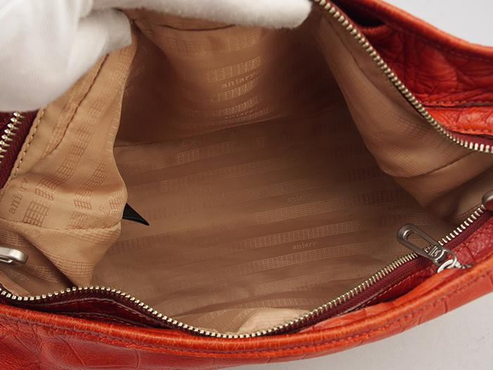【極美品】 aniary アニアリ ショルダーバッグ ボディーバッグ 型押し加工 ブラウン レザー (022)_画像9