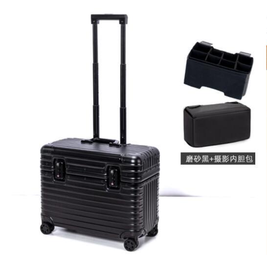 アルミスーツケース 17インチ ブラック 機内持ち込み 小型 アルミトランク 旅行用品 TSAロック キャリーケース キャリーバッグ_画像4