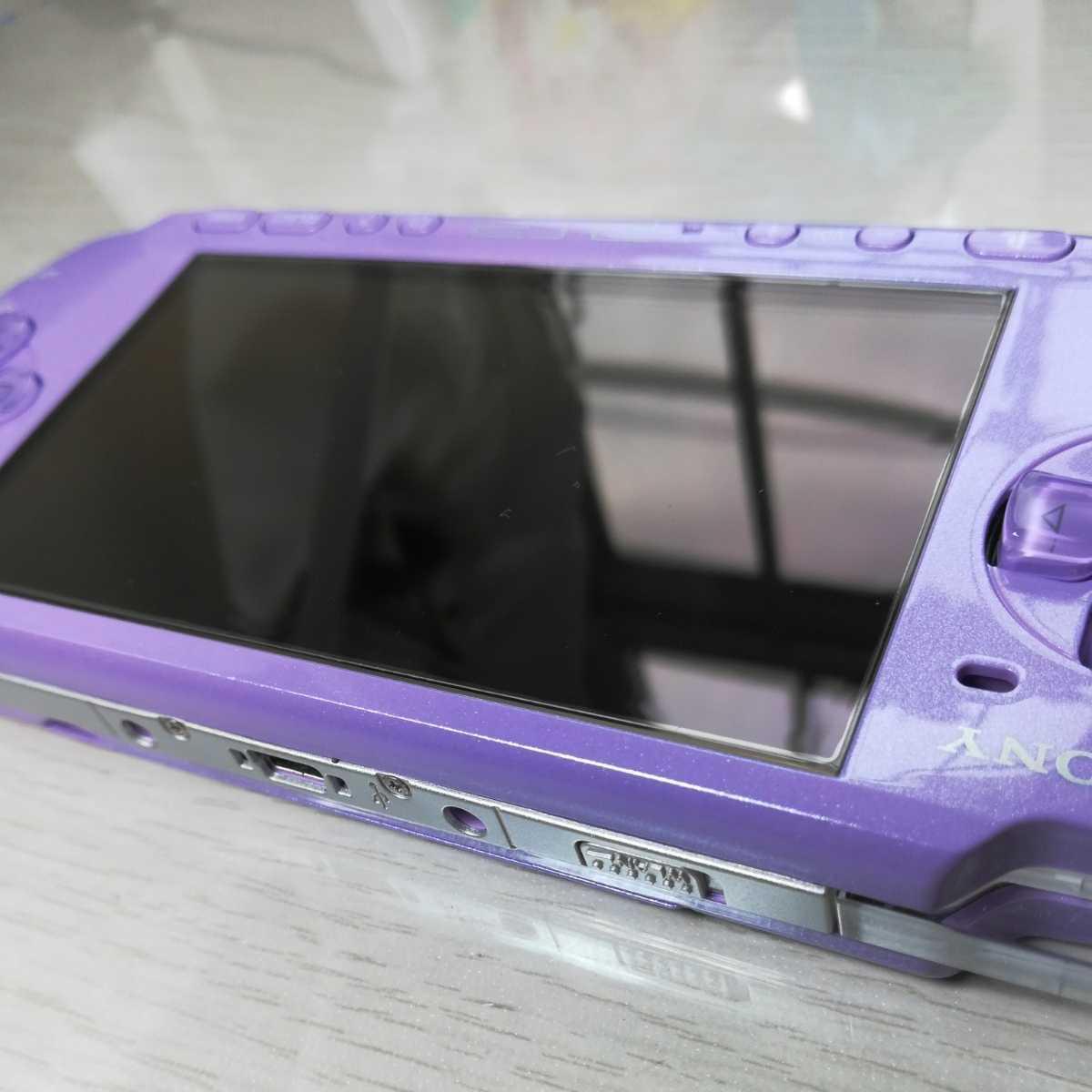 かなり美品 超希少 PSP 3000 ライラックパープル 本体 バッテリー 純正充電器 メモリースティック4GB 液晶保護フィルム アイルー 紫ピンク.