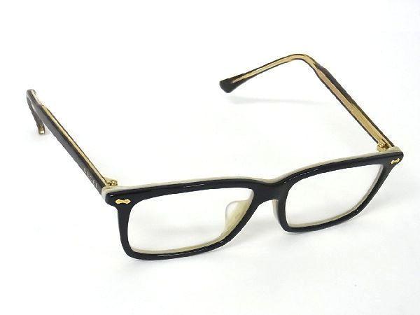 1円 ■美品■ GUCCI グッチ ロゴ TGRO4BXL2P ゴールド金具 メガネ 眼鏡 メンズ レディース ブラック系×クリア系 K4031LP