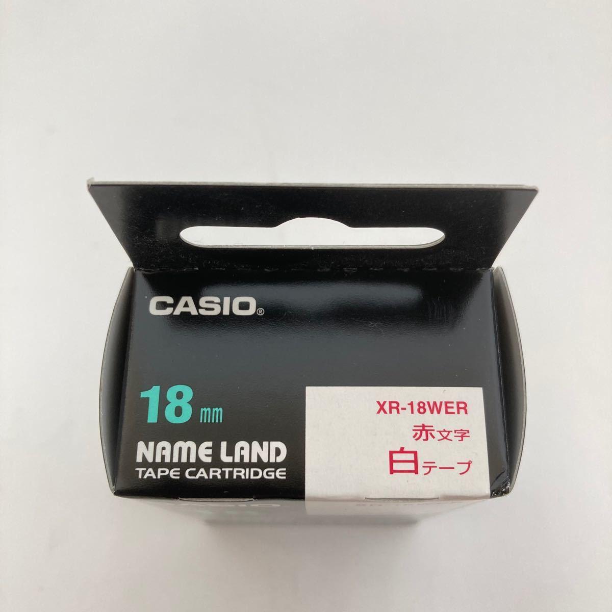 CASIO カシオ ネームランド ラベルライター 純正 テープ 18mm XR-18WER 白地に赤文字【新品即出荷、送料込!!】