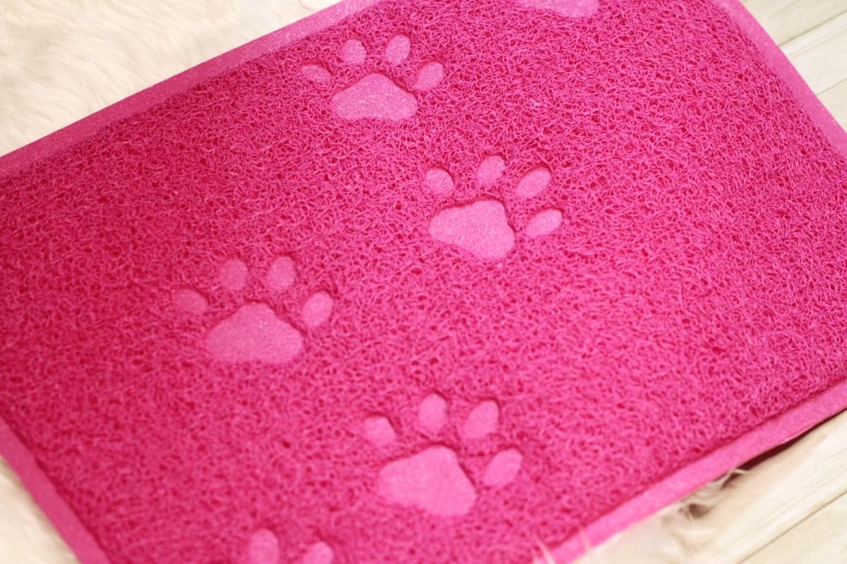 【ピンク】猫トイレマット かわいい足跡 猫砂飛び散り防止 ペット用品